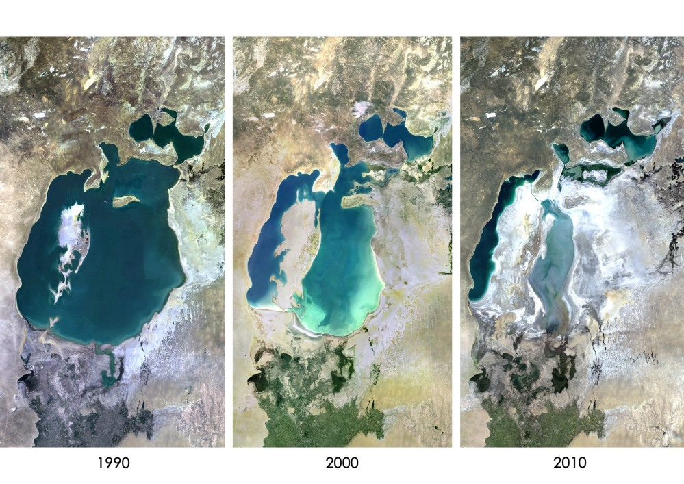 Aral Sea in 1990, 2000 and 2010.